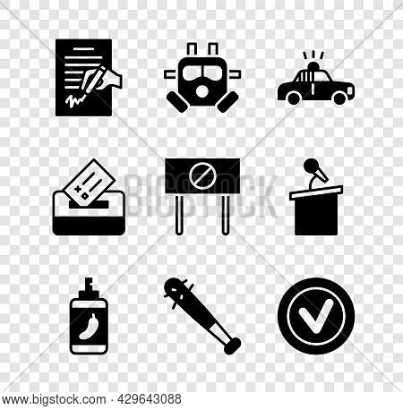 Set Petition, Gas Mask, Police Car And Flasher, Pepper Spray, Baseball Bat With Nails, Check Mark In