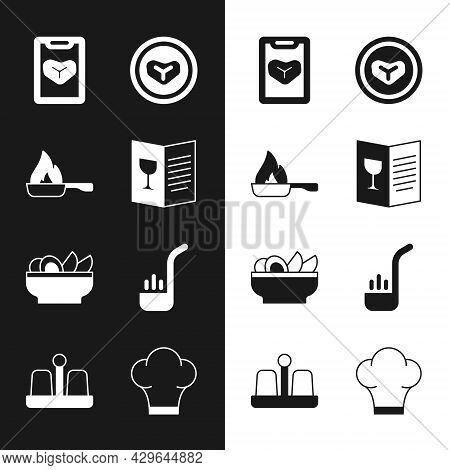 Set Restaurant Cafe Menu, Frying Pan, Steak Meat On Plate, Nachos, Kitchen Ladle, Chef Hat And Salt