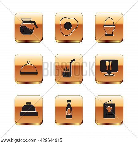 Set Coffee Pot, Hotel Service Bell, Wine Bottle, Kitchen Ladle, Covered With Tray, Chicken Egg On St