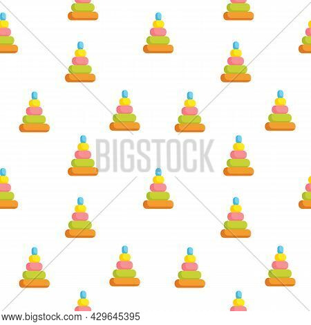 Seamless Pattern With Children S Toy Colored Pyramid In The Shape Of A Cone On A White Background. C