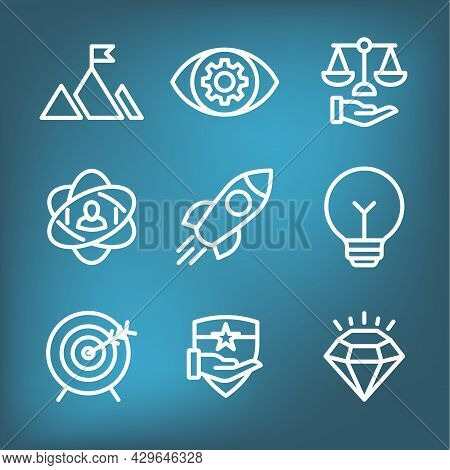 Mission Vision And Values Icon Set With Rocket, Ideas, Goal Icons