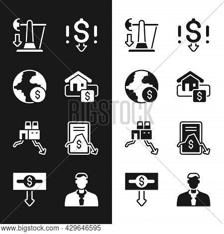 Set Hanging Sign With Sale, Global Economic Crisis, Drop Crude Oil Price, Dollar Rate Decrease, Shut