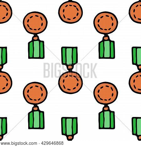 A Pattern Of A Bronze Medal With A Green Ribbon. Vector Seamless Pattern Of A Doodle-style Round Med