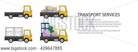 Yellow Small Trucks With Different Loads , Empty And Covered Trucks, Lorries With Furniture And Wind