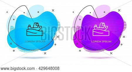 Line Fishing Boat On Water Icon Isolated On White Background. Abstract Banner With Liquid Shapes. Ve