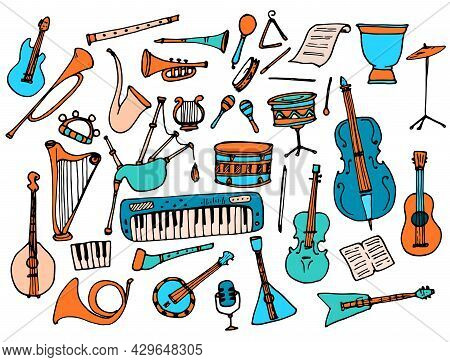 Vector Set Of Musical Instruments, In Orange And Turquoise Colors. Hand-drawn Doodle Collection Of T