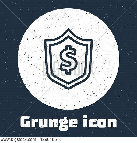 Grunge Line Shield With Dollar Symbol Icon Isolated On Grey Background. Security Shield Protection.