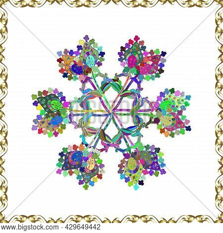 Vector Illustration. Vector Pattern. Cute Floral Pattern In The Small Flower. On White, Blue And Gre