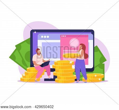 Crowdfunding Flat Icon With Coins Banknotes And People Collecting Money Online Vector Illustration