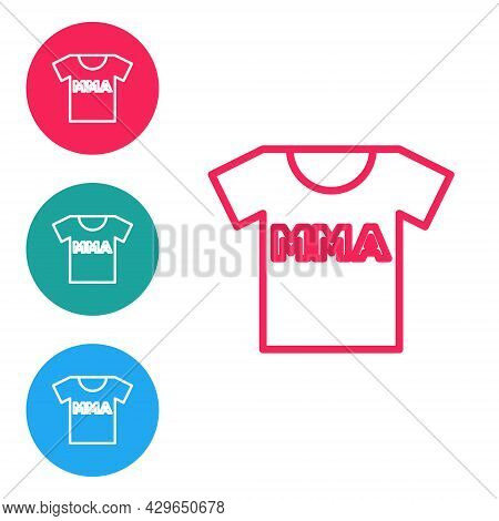 Red Line T-shirt With Fight Club Mma Icon Isolated On White Background. Mixed Martial Arts. Set Icon