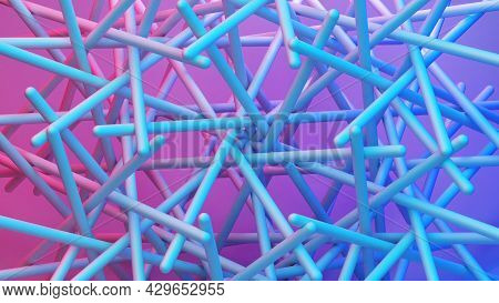 Scientific Or Technology Abstractions With Canes, Sticks Or Rods Flying In Surreal Symmetric Structu