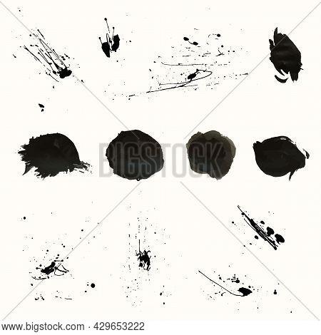 Vector Set Of Artistic Ink, Watercolor Splashes, Ink Blots. Black Splatter Collection.
