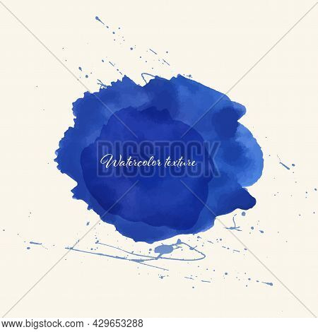 Beautiful Watercolor Circle Design Elements. Brush Smear, Stain Watercolor Texture.blue Watercolor C