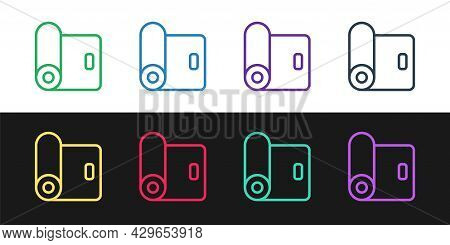 Set Line Fitness Mat Roll Icon Isolated On Black And White Background. Yoga Mat Rolled. Sport Equipm