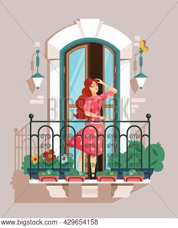 A Girl Straightens Her Hair Standing On A Balcony With A Railing And Houseplants Flat Vector Illustr