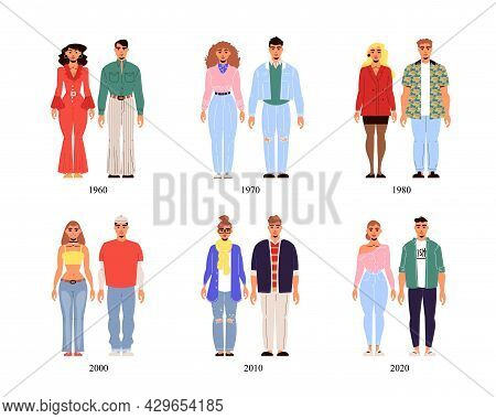 Male And Female Fashion History Costume Collection From Second Half Of 20th Century To 2020 Year Iso