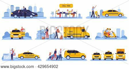 Taxi Cabs With Drivers And Passengers With Luxury Cars Vector Illustration