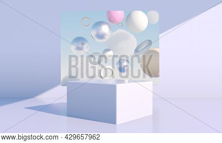 Minimal Scene With Geometrical Forms, Podiums In Cream Background With Shadows. Scene To Show Cosmet