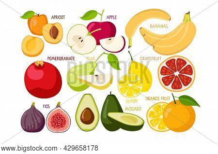 Fruit Set. Natural Tropical Fruit. Fresh Organic Food For Menu, Banner, Farm Product Design, Market