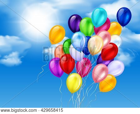 Colorful Balloons Bunch On Sky Realistic Composition With Sun Heaven Clouds And Flying Balloons With