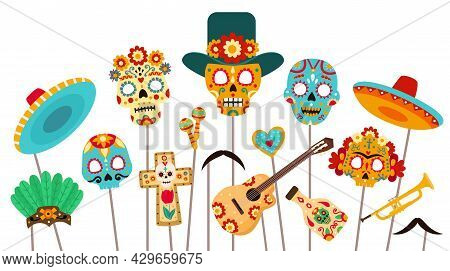 Dead Of Day Photo Booth. Skull Masks, Sombrero And Props For Dia De Los Muertos Party. Mexican Hallo