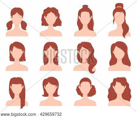Cartoon Female Fashion Hairstyle For Short, Long And Curly Hair. Woman Head With Haircuts, Ponytail