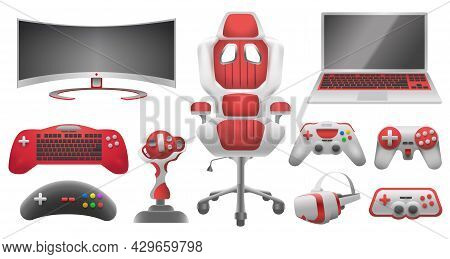 Joystick Controllers, Gadget And Accessory For Video Game. Virtual Reality Glasses, Monitor, Laptop,