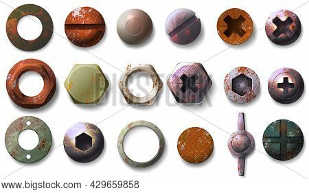 Realistic Old Rusty Screw And Bolt Heads Top View. Metal Round And Hexagon Shaped Nuts, Nails And Ri
