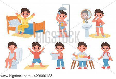 Child Morning Daily Routine With Cute Cartoon Boy Character. Kid Wake Up, Do Hygiene, Brush Teeth An