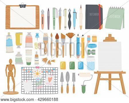 Artist Toolkit. Cartoon Paint And Calligraphy Supplies. Sketchbooks And Pens, Easel, Watercolor, Pai