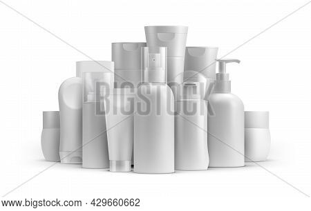 Cosmetic Line Product Bottle And Tube Packages Mockup. Cream, Spray Balsam, Soap And Shampoo Contain