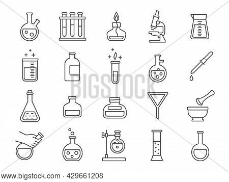 Chemistry Or Science Research Laboratory Equipment Line Icons. Pharmacy Lab Glassware, Beakers, Test
