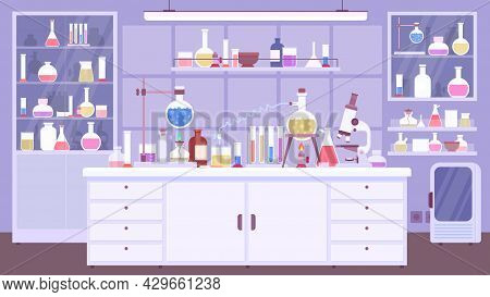 Flat Chemical Lab Room Interior With Scientist Equipment. Chemistry Classroom Or Science Laboratory