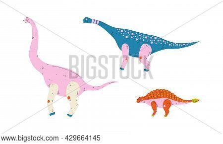 Dinosaur As Prehistoric Creature And Jurassic Predator Vector Set