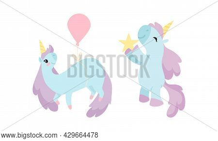 Cute Unicorn Character With Pointed Spiraling Horn And Purple Mane Holding Star And Flying With Ball