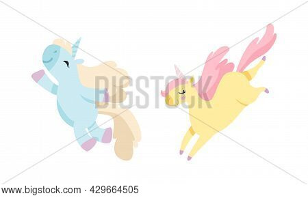 Cute Unicorn Character With Pointed Spiraling Horn And Mane Jumping Vector Set