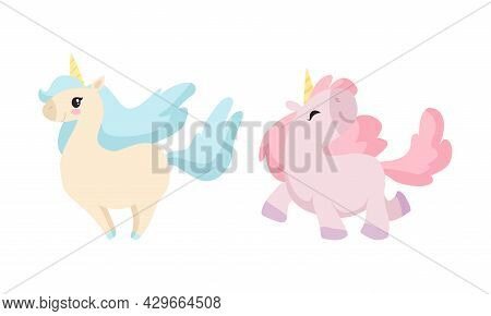 Cute Unicorn Character With Pointed Spiraling Horn And Mane Walking And Standing Vector Set