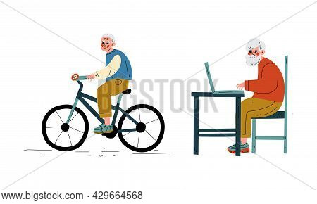 Senior Grey-haired Man Cycling And Sitting At Table With Laptop Vector Set