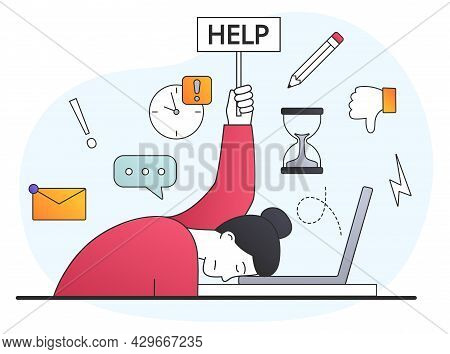 Stressed Female Office Worker Lost Focus About Solutions And Future Plans For Success And Developmen