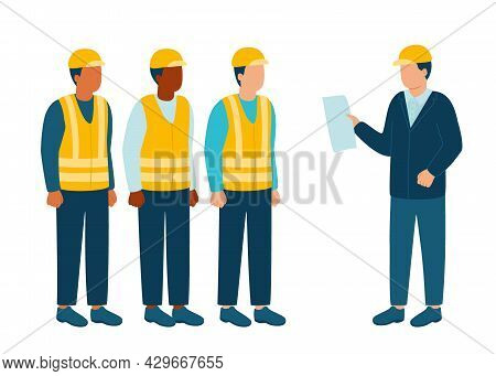 Build Industry Architect, Engineer Communicate With Workers Contractor, Builder In Helmet, Discuss N