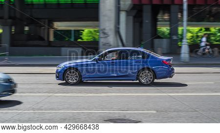 Bmw 3 Series G20 Test Drive Day In Moscow City. Moscow, Russia - July 2021