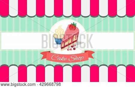 Template For Menu Card Of Cake Shop With Piece Of Cake, Cupcakes And Berries In Pink Colours. For Ca