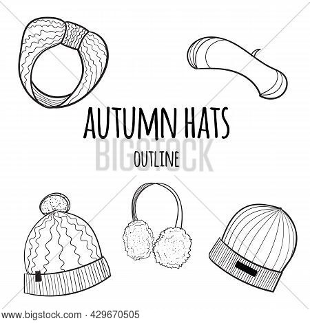 Knitted Hats, Beret, Headband And Headphones On A White Background.