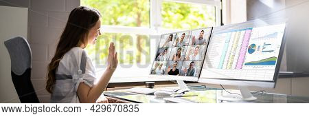 Online Video Conferencing Call Waving Hand Group Chat Screen