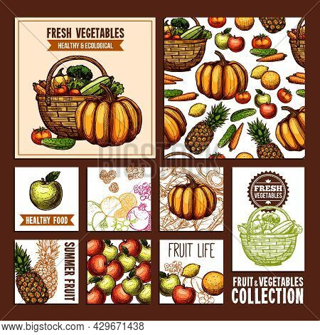 Fruits And Vegetables Cards For Useful And Healthy Nutrition In Retro Style Vector Illustration
