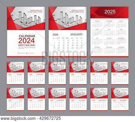 Wall Calendar 2024 Template Set And Calendar 2025 Design, Red Cover. Week Starts On Sunday, Set Of 1