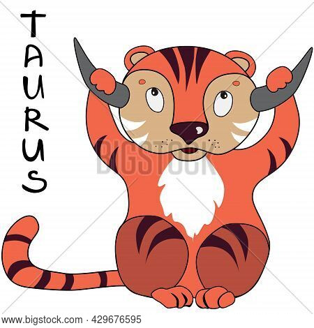 Tiger Year And Zodiak Sign Taurus Illustration. Funny Tiger Vector Image Isolated On White. Cute Ani