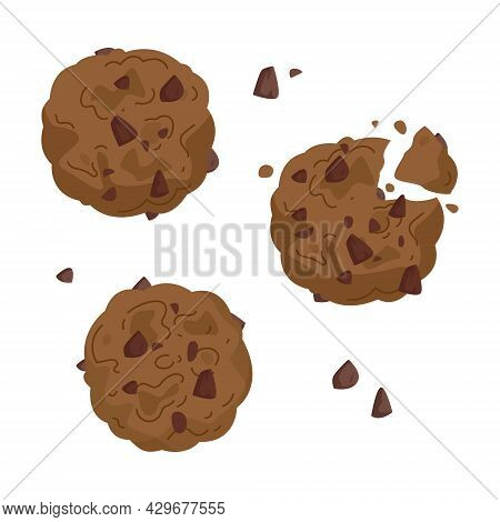 Set Of Freehand Drawings Of Chocolate Oatmeal Cookies. Bitten Cookies For Dessert Illustration For C