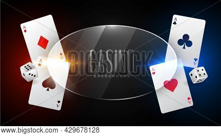 Casino Background With Ace Cards And Glass Frame Design Vector Illustration