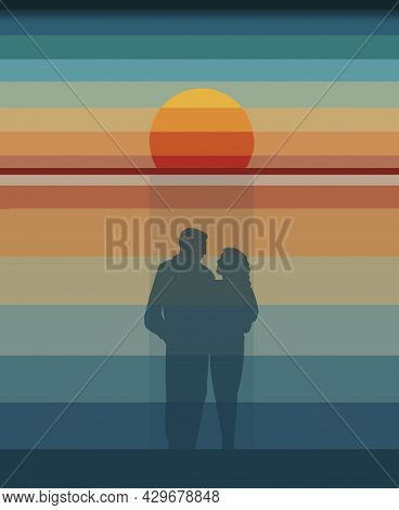 Pastel Colored Stripes Are Seen In This 3-d Illustration Of A Sunset.